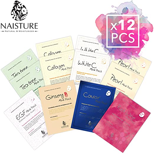 Banzai NAISTURE Facial Mask Treatment Pack (12 Sheets) Smooth Moisturizing Hydration Revitalizing - Made in Korea