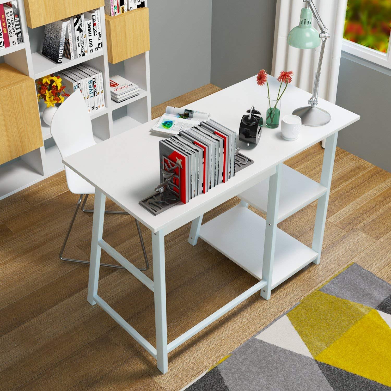 Homfa Mesa de Escritorio Mesa de Ordenador con 2 estantes Blanco 100X50X75cm: Amazon.es: Hogar