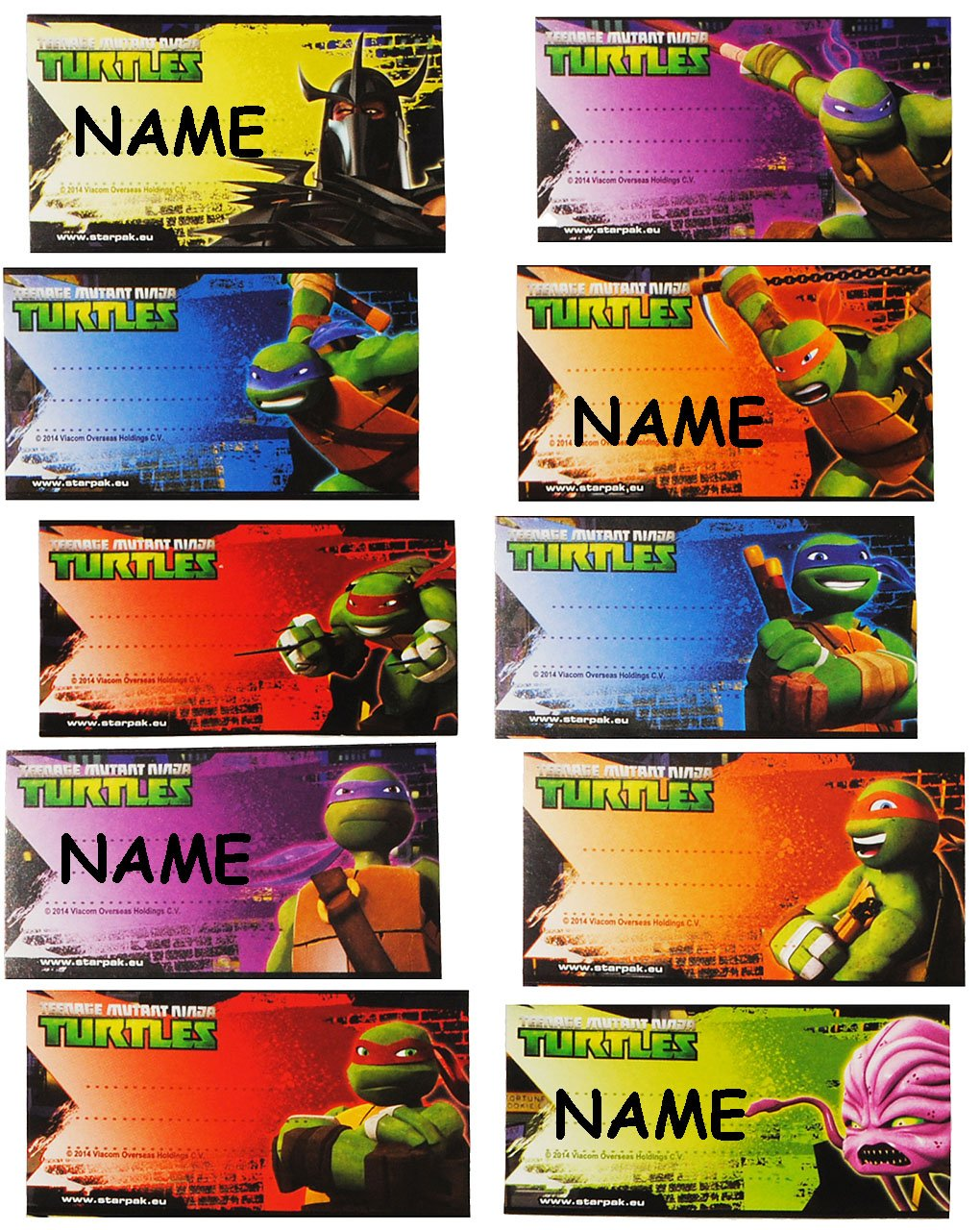 10 Stk. Sticker für Hefte - Teenage Mutant Ninja Turtles ...