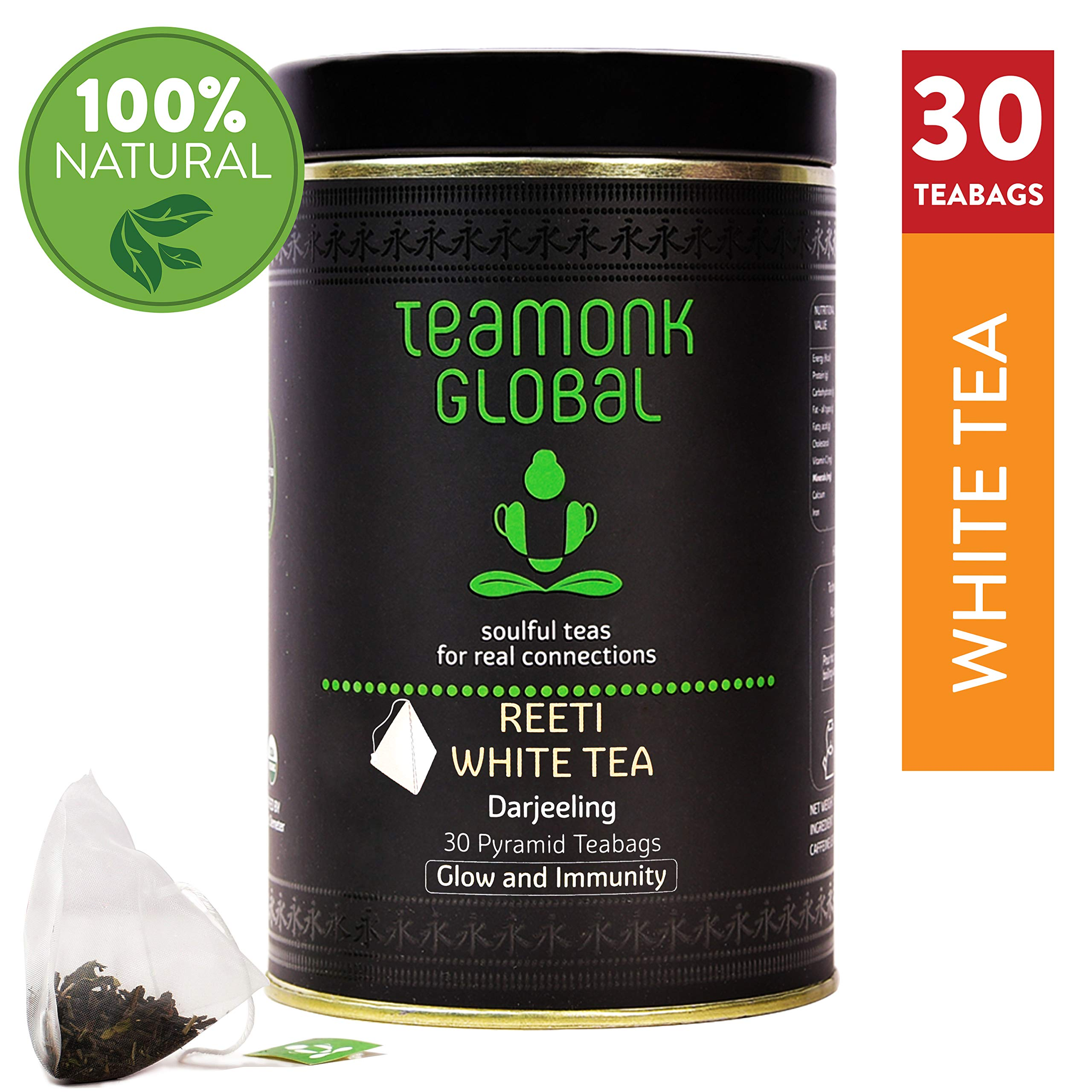 Teamonk Reeti Organic White Tea Bags - 30 Teabags | Powerful Antioxidant Tea | Tea for Glowing Skin | Immunity Boosting Tea | No Additives by Teamonk Global