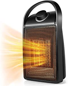 Space Heater, 2020 Upgraded Portable Quiet Ceramic Space Heater, 750W/1500W Ceramic Electric Heater Mini Desk Personal Heater with Tip-Over & Over-Heat Protection for Home/Office/Bedroom