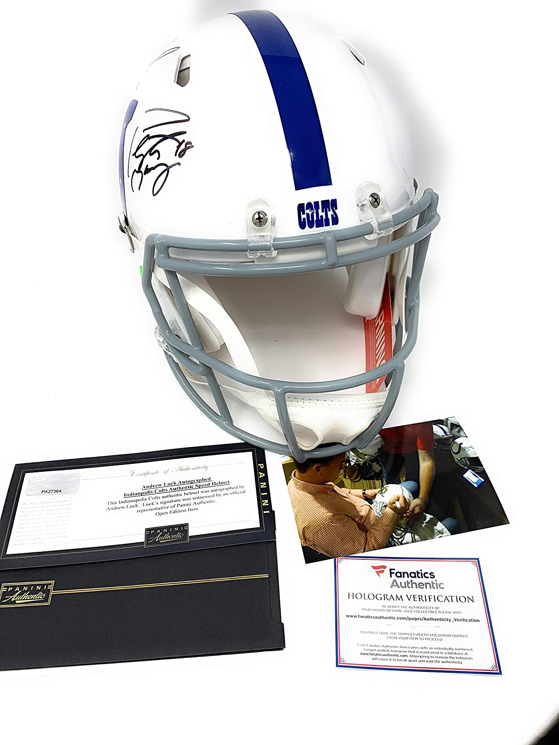 ebfea6b0b ... Luck Indianapolis Colts Dual Signed Autograph Full Size Speed Authentic  Proline Helmet Panini   Fanatics Authentic Certified  2  Sports Collectibles