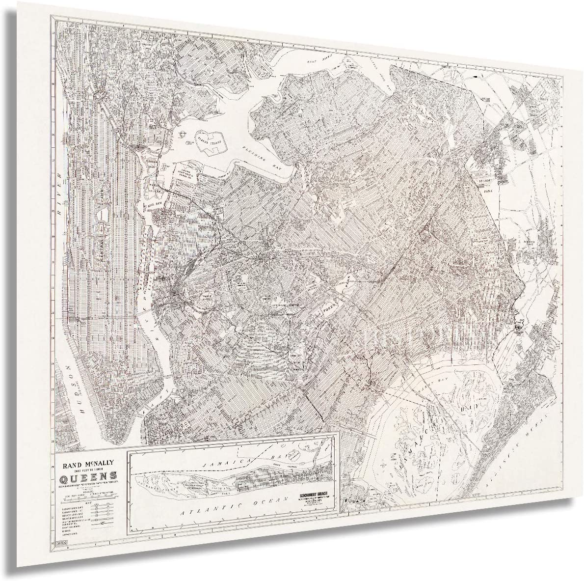 HISTORIX Vintage 1922 Queens New York City Map Poster - 18x24 Inch Queens NYC Map Wall Art Decor - Old Metropolitan Map of New York City - Includes Inset of Rockaway Beach (2 Sizes)