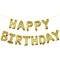 "Magic Season Balloon Banner/Aluminum Foil Letters - 16"" Happy Birthday (Gold)"