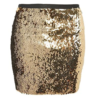 f3cad82dbc6e Honey Qiao Women's Short Mini Party Skirt Sparkle Sequins Club Dress at Amazon  Women's Clothing store: