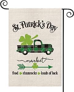 AVOIN Happy St Patrick's Buffalo Plaid Truck Garden Flag Vertical Double Sided, Lucky Clover Shamrock Arrow Loads of Luck Yard Outdoor Decoration 12.5 x 18 Inch