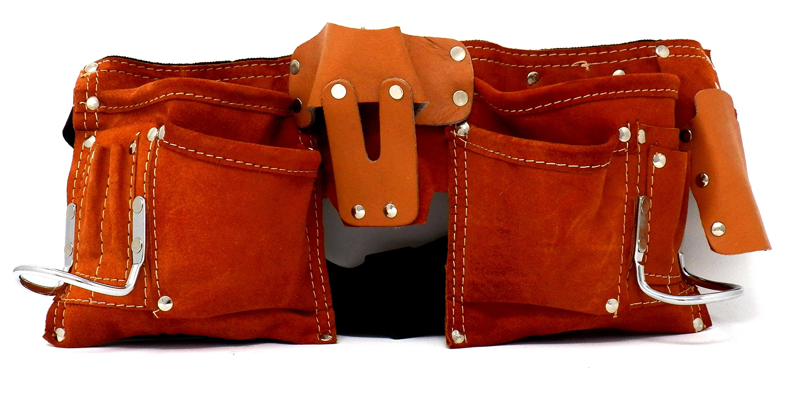 IIT 91112 7 Pocket Leather Tool belt, Polyweb belt with quick release buckle.