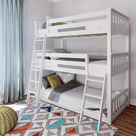 Amazon Com Max Lily Twin Triple Bunk White Furniture Decor