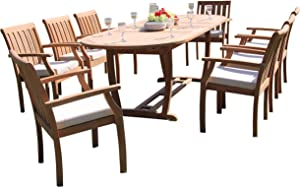 """9-pc Outdoor Teak Dining Furniture Set: 94"""" Masc Oval Extension Table & 8 Somer Arm Chairs"""