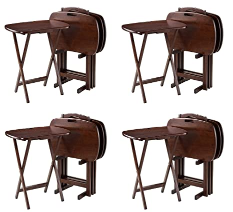 Winsome Wood 94577 Lucca Snack Table 22 83 W X 25 79 H X 15 67 D Brown Pack Of 4