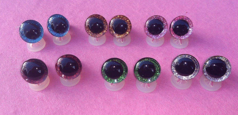 celloexpress Lot de 3 Paires dyeux 3D avec attaches en plastique 16 mm Yeux de s/écurit/é pour peluches ou cr/éation dours en peluche