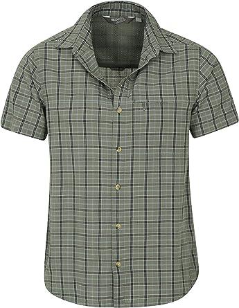 Mountain Warehouse Holiday Camisa de algodón para Hombre - Camisa de Verano Cuidado fácil, Camisa Informal Ligera, Parte Superior de Forro de Malla - para Viajar: Amazon.es: Ropa y accesorios