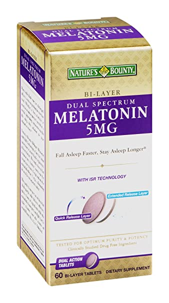 Amazon.com : Nb Dual Spectr Melatonin Size 60ct Nature Bounty Dual Spectrum Bi-Layer Melatonin 5mg 60ct : Beauty