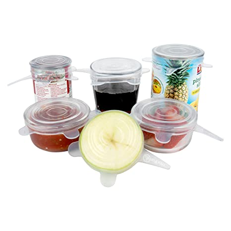 Silicone Stretch Lids (6 Pack, All Small Lids), Reusable, Durable,  Expandable  Great for Keeping Food and Drinks Fresh, Dishwasher and Freezer  Safe