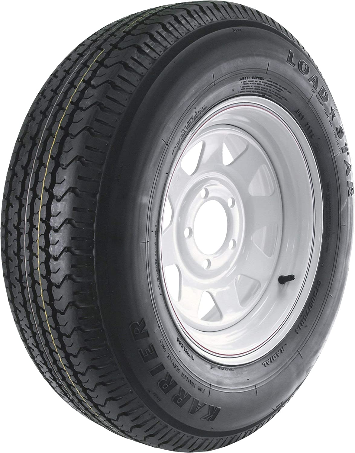 Martin Wheel Carrier Star 14in. Radial Trailer Tire and Wheel Assembly - ST205/75R-14, 5-Hole, Load Range C, Model Number DM205R4C-5CIN