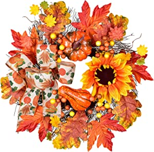 Artificial Sunflower Pumpkin Berry and Maple Leaf Wreath 18Inch for Halloween and Thanksgiving Home Indoor or Outdoor Arrangement Decoration