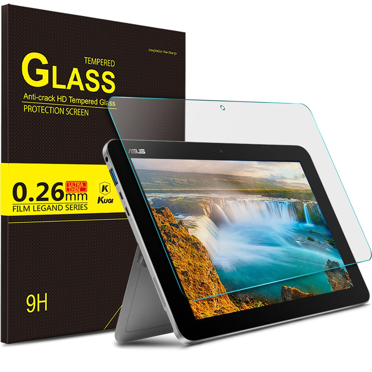 "KuGi Asus Transformer Mini T102HA screen protector - 9H Hardness HD clear Tempered Glass Screen Protector for ASUS 10.1"" Transformer Mini T102HA-D4-GR 2 in 1 Touchscreen Laptop (Clear) by KuGi"