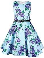 Ephex Girls Vintage Floral Print Swing Party Wedding Dresses 2-11Y