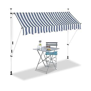 Relaxdays Auvent Retractable 250 Cm Store Balcon Marquise Soleil Terrasse Hauteur Reglable Sans Percage Bleu Blanc 250 X 120 Cm