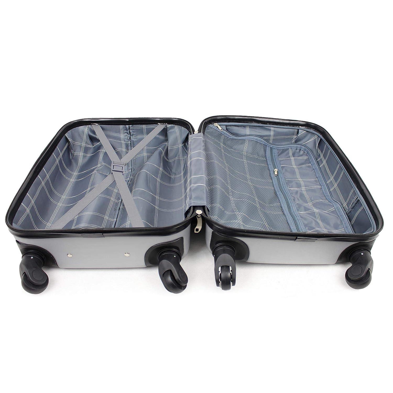 35L Trolley Cabine Bagage /à Main Roues incluses : 55 x 35 x 23 cm Taille Leogreen Valise Cabine Taille 51cm ABS Valise Rigide L/égere /à 4 roulettes Argent