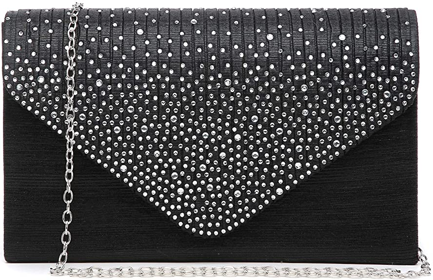 Dasein Ladies Frosted Satin Evening Clutch Purse Bag Crossbody best dressy clutches Handbags Party Prom Wedding Envelope (Black) best dressy clutches