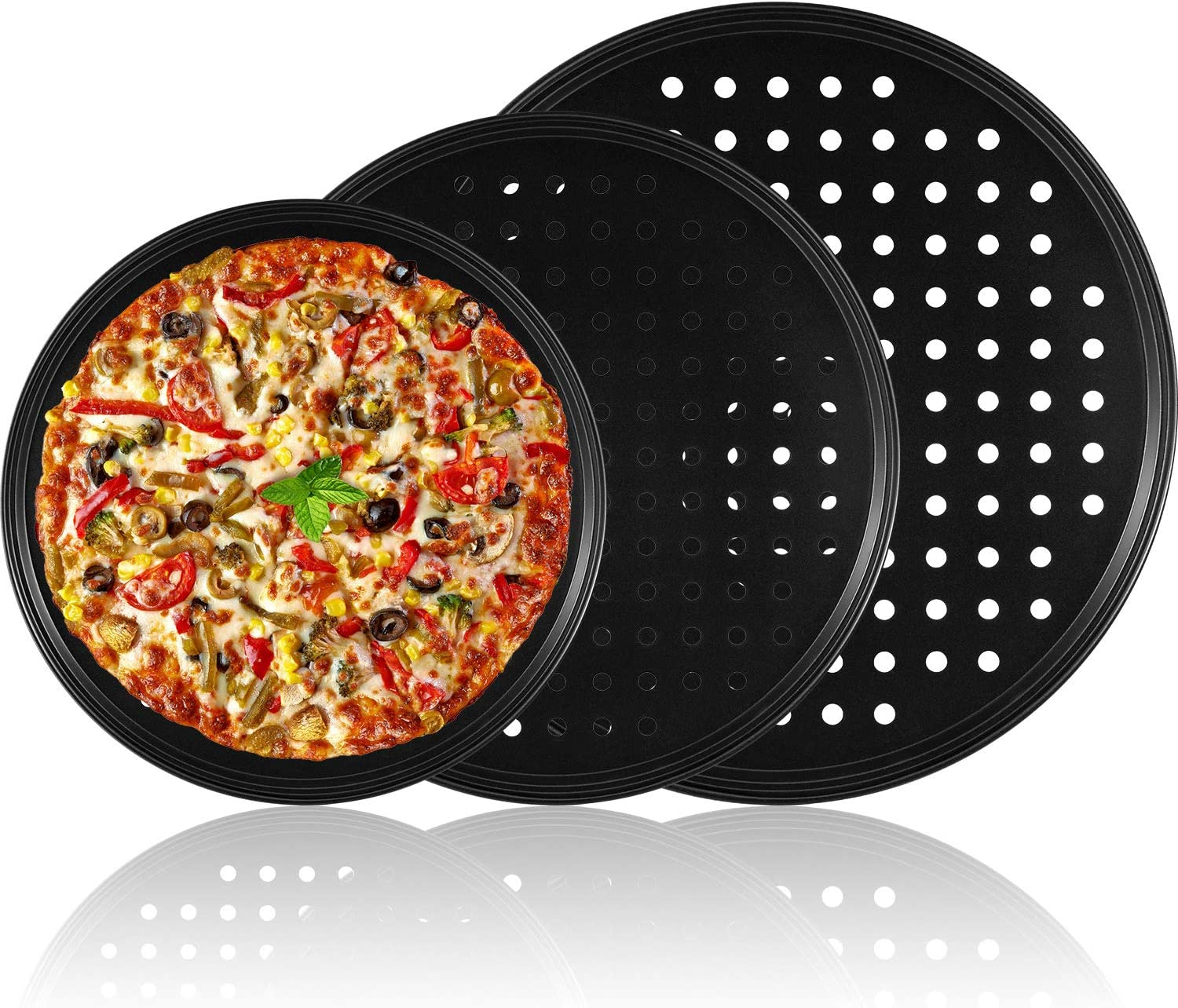 3 Pieces Pizza Crisper Pan Carbon Steel Pizza Pan Non-Stick Round Pizza Tray with Holes for Home Restaurant Hotel Use, 9 Inch /11 Inch/12.5 Inch (Black)