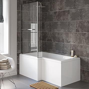 1500 mm, linke Hand, gerade, Dusche/Badewanne in L-Form mit ...