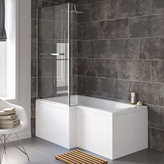 1500 Mm Left Hand L Shaped Straight Shower Bath With Screen Side