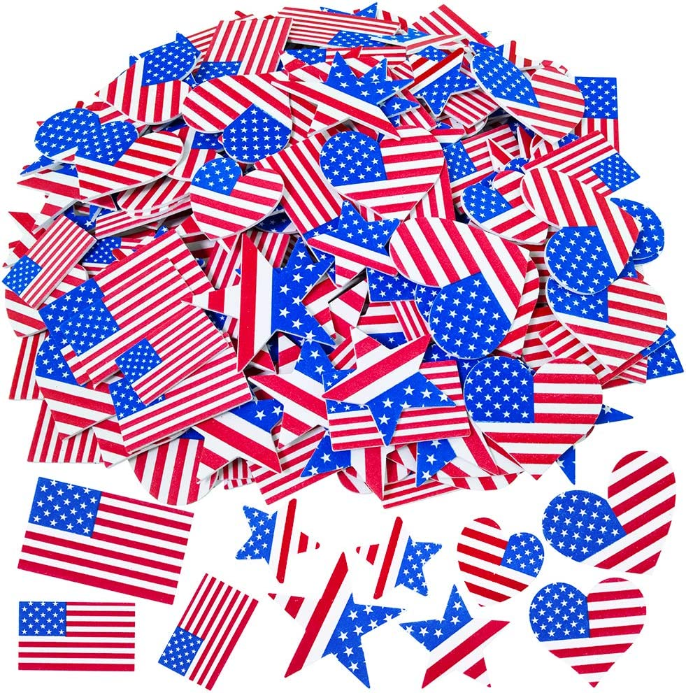 JULY 4TH PARTY RINGS Lot of 12 Patriotic Stars Plastic 3D Red White Blue