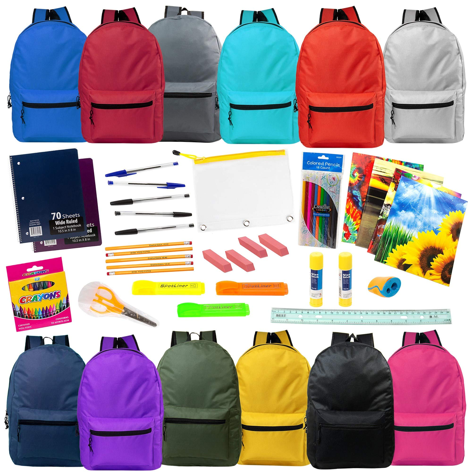 19'' Wholesale Backpacks in 12 Assorted Colors with 53 Piece School Supply Kit - Bulk Case of 12