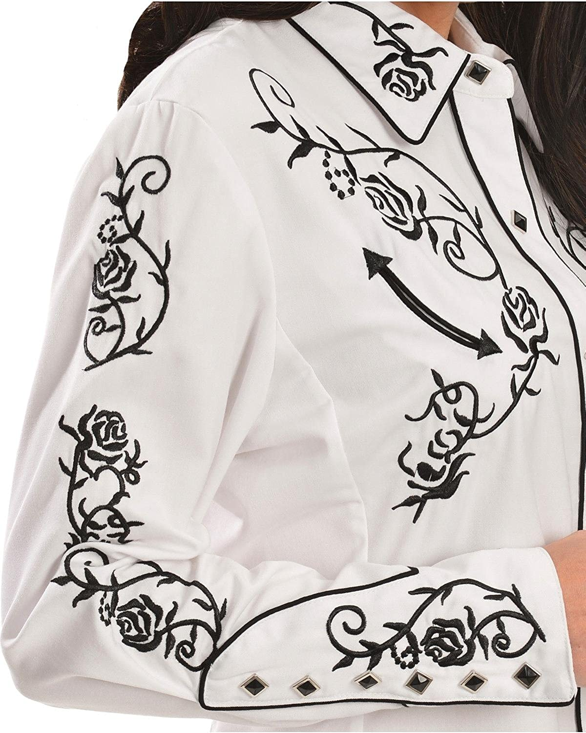 Floral Embroidered Retro Western Shirt Scully Womens
