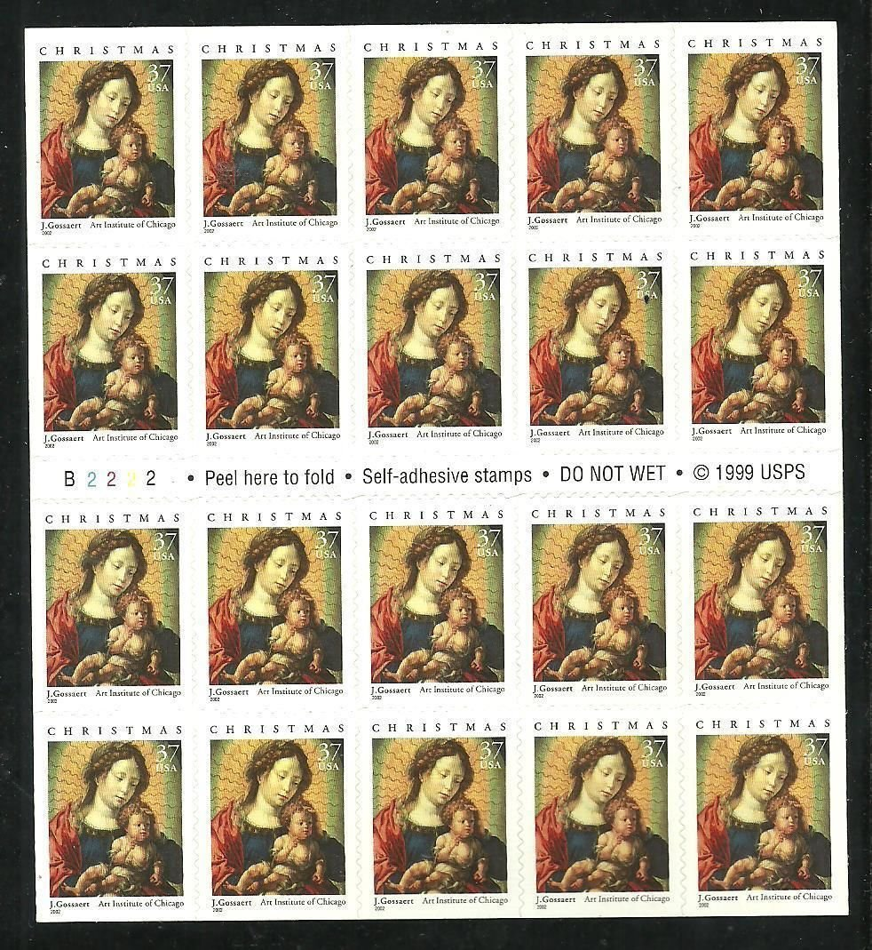 Madonna and Child Christmas Booklet Pane of Twenty 37 Cent Stamps Scott 3675