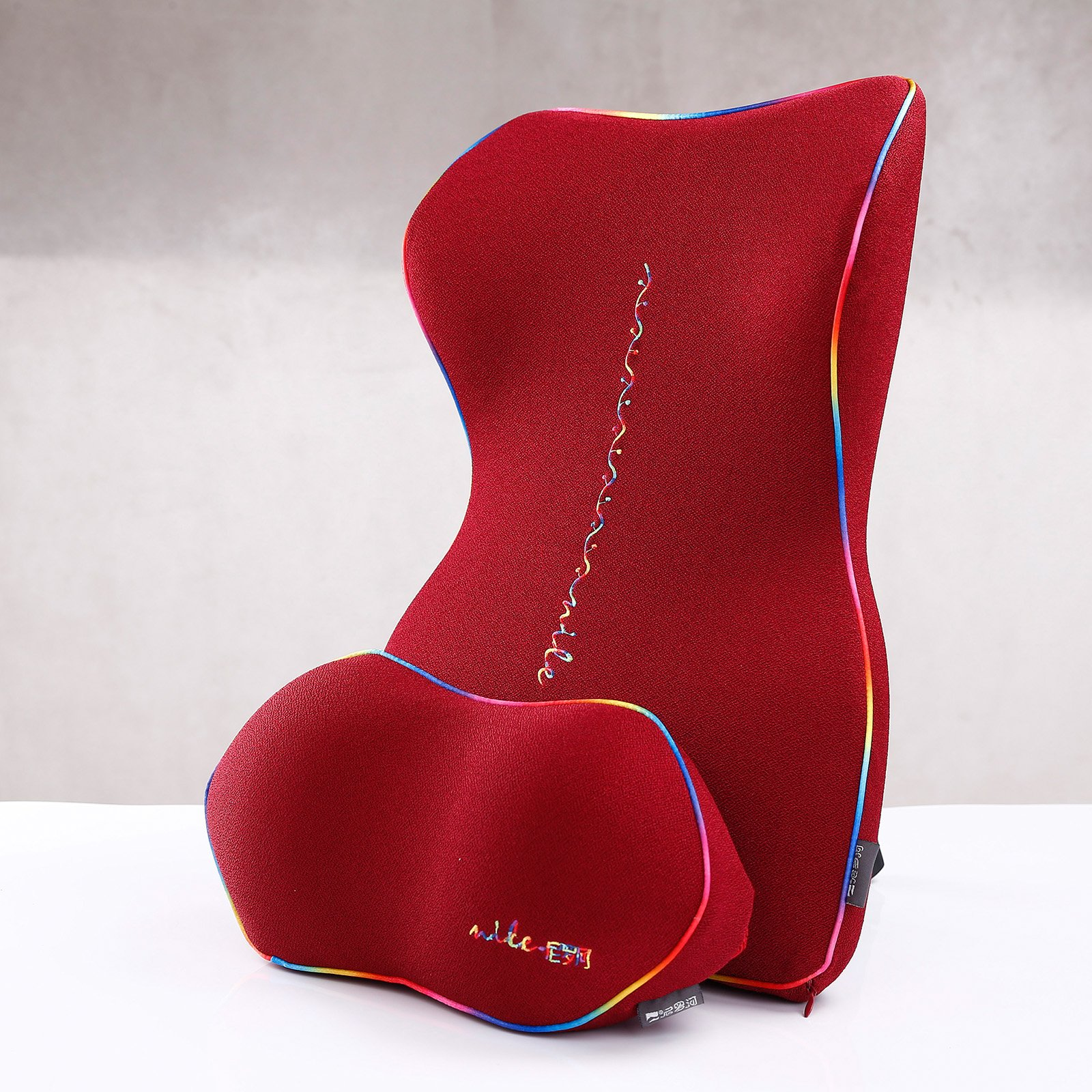 TiTa-Dong Car Seat Waist Pillow Headrest Lumbar Supports Pad for Driving Fatigue SUV Travel Relieve Back Neck size M (Red)