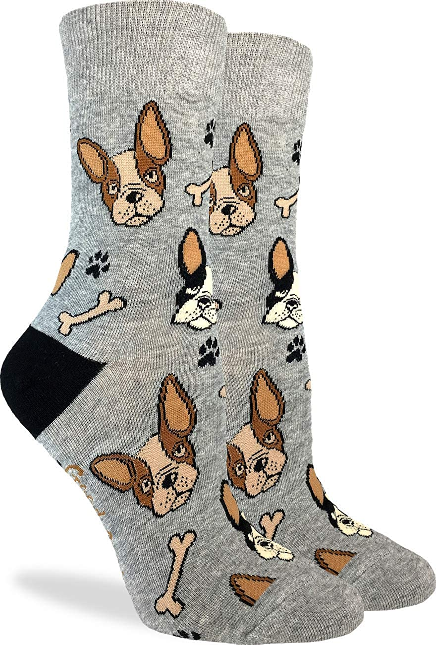 Grey Good Luck Sock Womens French Bulldog Socks Adult Shoe Size 5-9