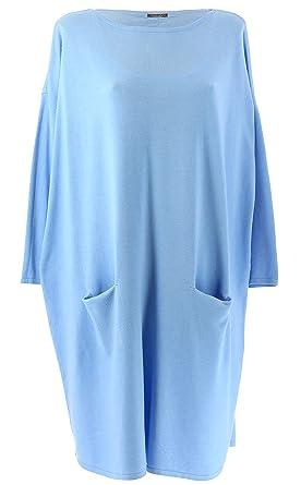 a00345f5bb5 Charleselie94® - Robe Pull Longue Femme Grande Taille Bleu Ciel TAILA Bleu  - 40