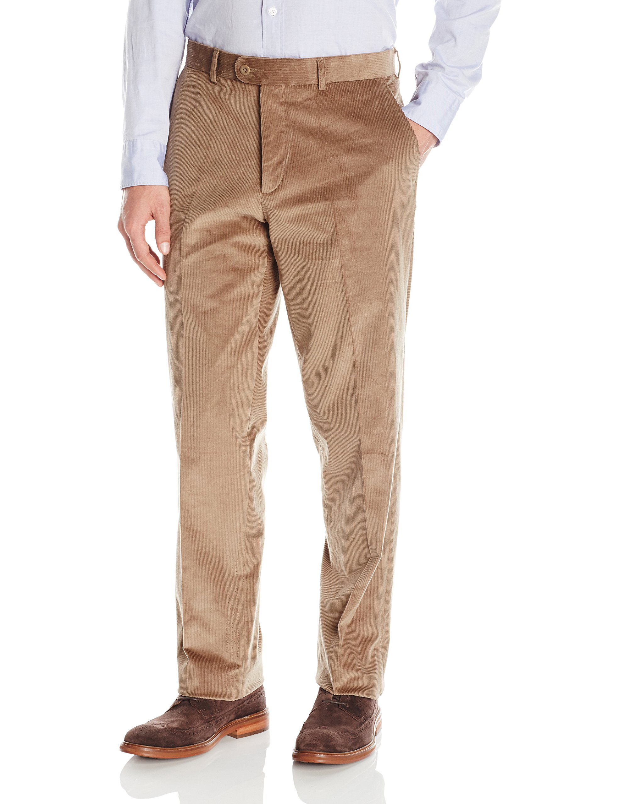 Linea Naturale Men's Flat Front Lightly Washed Stretch Cord Trouser, Tan, 33W by Linea Naturale