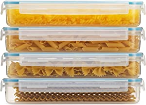 Komax Biokips Pasta Storage Containers Set of 4 | 33-oz Rectangular Spaghetti Container | Airtight Noodle & Pasta Holder with Locking Lids| BPA-Free Microwave, Freezer, and Dishwasher Safe