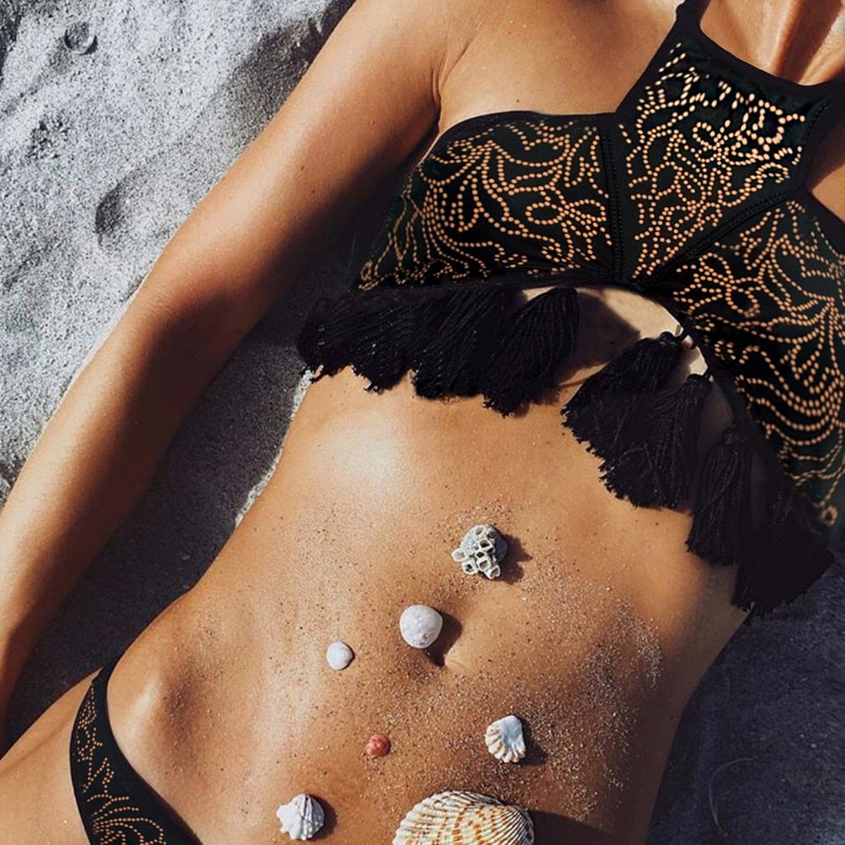 SKST Women Sexy Bikini Set Halter Print Tassel Push Up Padding Swimsuit Beachwear (S, Black)