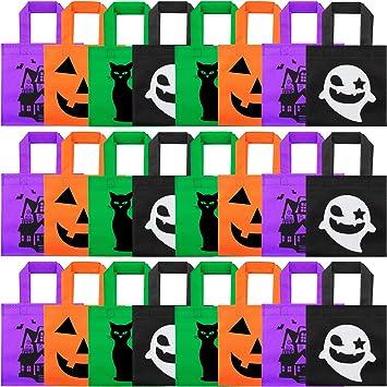 24 Piezas Bolsas de Halloween Bolsas de Mano de Truco o Trato Bolsa de Caramelo Reutilizables Bolsas de Regalo de Calabaza con Manijas para Favores de ...
