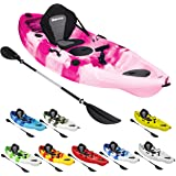 Bluewave Single Sit On Top Fishing Kayak   With 5 Rod Holders, 2 Storage Hatches, Padded Seat & Paddle