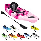 Bluewave Single Sit On Top Fishing Kayak | With 5 Rod Holders, 2 Storage Hatches, Padded Seat & Paddle