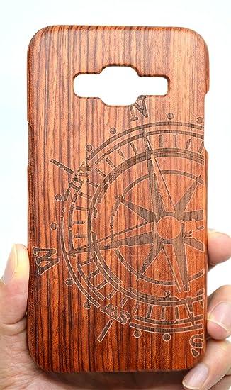 huge discount b3d76 5ec03 Samsung Galaxy J3 Wood Case, PhantomSky[Luxury Series] Premium Quality  Handmade Natural Wood Cover for Galaxy J3 - Rose Wood Compass