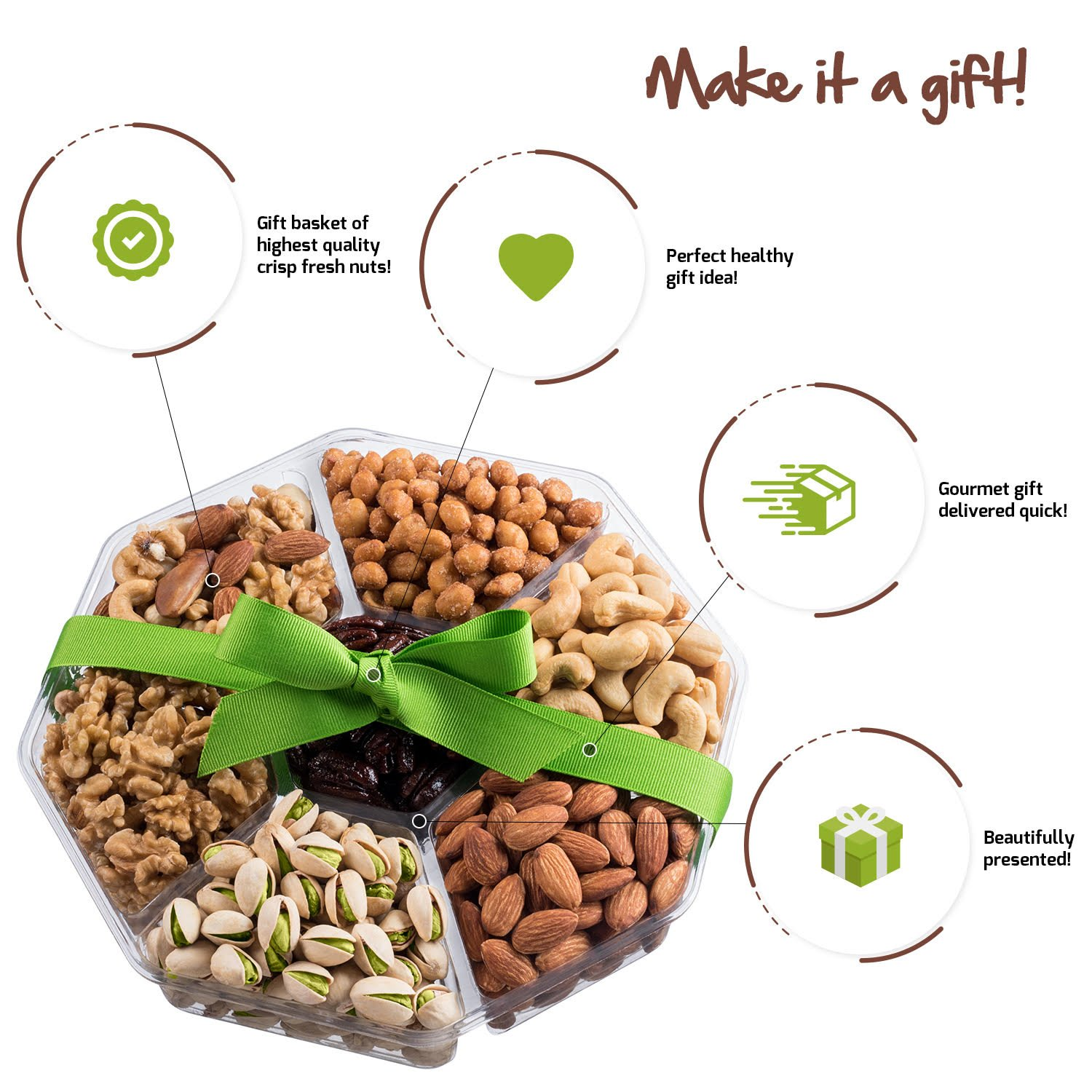 Mother's Day Nuts Gift Basket | Large 7-Sectional Delicious Variety Mixed Nuts Prime Gift | Healthy Fresh Gift Idea For Christmas, Easter, Mothers & Fathers Day, And Birthday by Nut Cravings (Image #3)