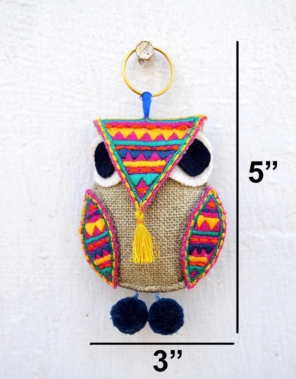 boh/ème Tassel Boho Sac Charm marocain Taille 12,7/cm ou 13/cms faite /à la main Multicolor Hibou Porte-cl/és