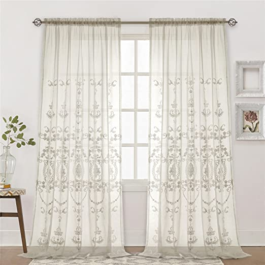Europe Flying Green Willow Branches Embroidered on White Lace Sheer Curtain Fabric,Sheer Curtains Embroidered,Sheer Curtains