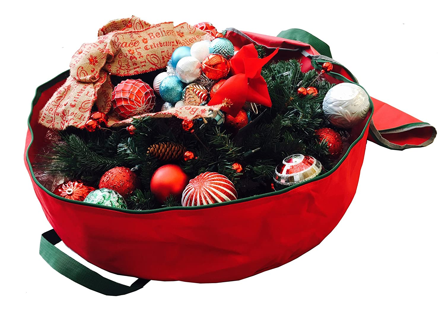 K-Cliffs Wreath Storage Bag Heavy Duty Round 30 Inch Premium Holiday Christmas Garland Bag Strong Quality Xmas Wreaths Ornaments Storage Bags Red 30