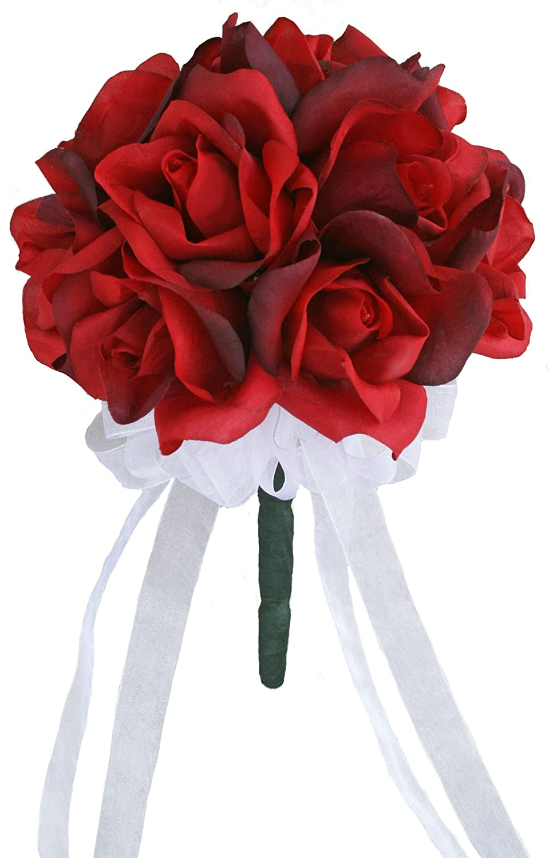 Amazon red silk rose toss bouquet silk wedding toss bouquet amazon red silk rose toss bouquet silk wedding toss bouquet home kitchen izmirmasajfo