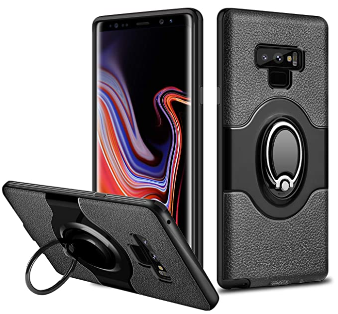 new concept acf88 c3852 ELOVEN Ultra Slim Fit Case for Galaxy Note 9, Galaxy Note 9 Case with  Built-in Ring Holder Kickstand Anti-Scratch Dual Layer Bumper Secure Grip  Design ...