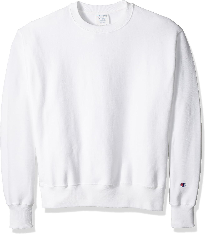 Champion LIFE Men's Reverse Weave Sweatshirt, White, L: Clothing