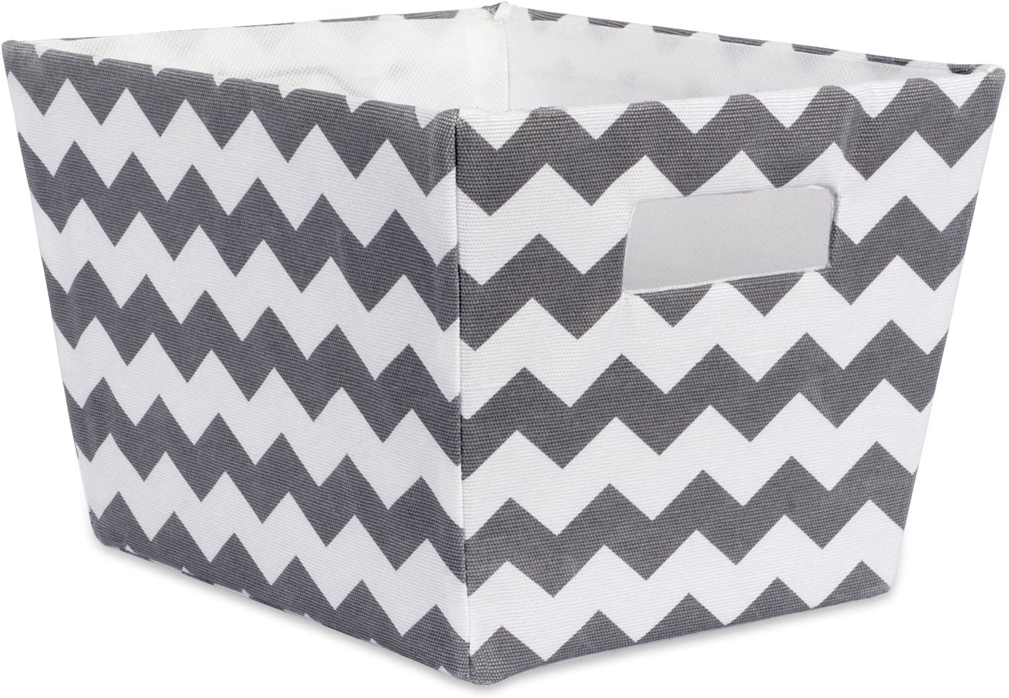 """DII Fabric Trapezoid Storage Container for Nurseries, Offices, Closets, Home Décor, Cube Organizer & Everyday Use, (Basket - 12x10x7.75"""") Chevron Gray"""